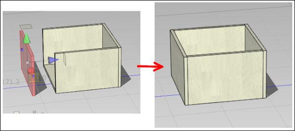 左側面を移動して箱にくっつける
